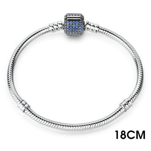 Cute Bracelets Crafted from Silver, with Clasp Paved with Lovely Pink, Blue or Clear Crystals