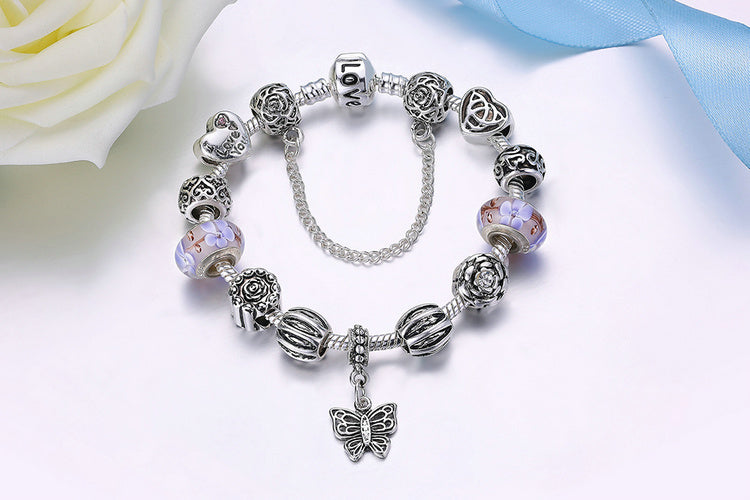 Women's Vintage Style Silver Plated Bracelet with Butterfly Pendant