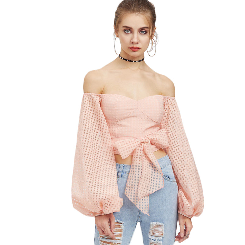 Women's Puff Long Sleeve Off the Shoulder Self Belt Square Cut Top in Pink Color
