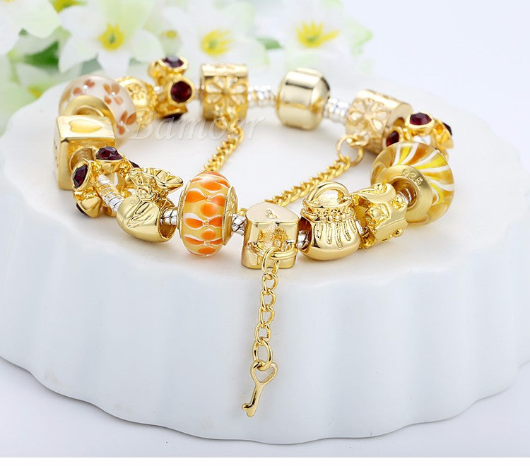 Women's Charm Bracelet with Murano Glass Beads