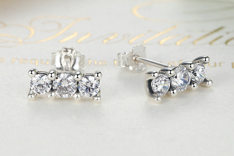 Beauty of Diamonds - Simple but Gorgeously Sparkling Stud Earrings Crafted from Silver and Crystals