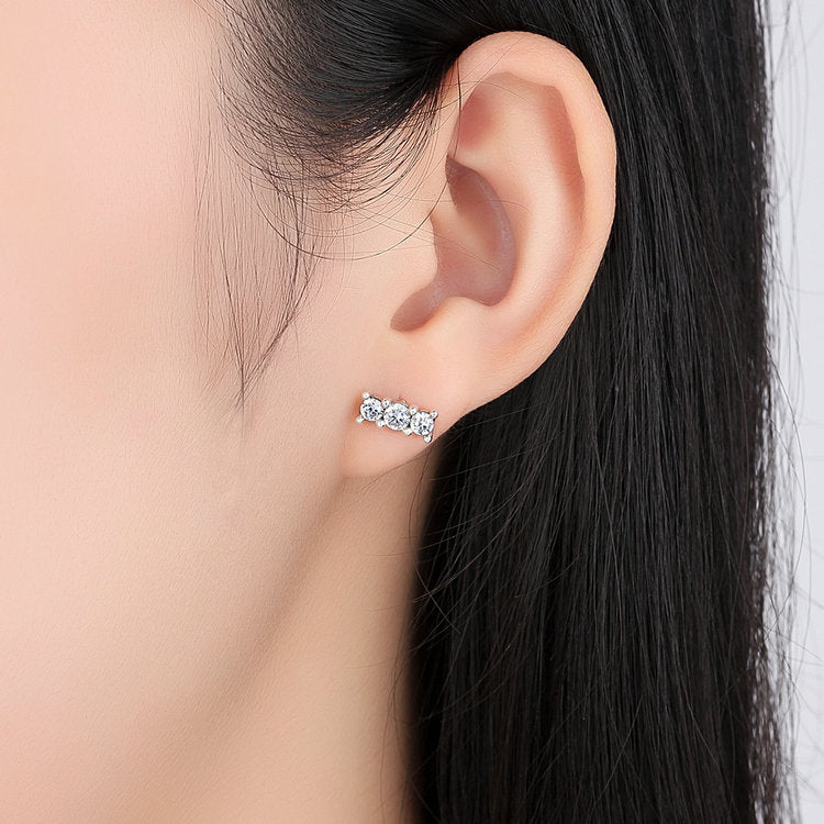 Stud Earrings paved with Crystals