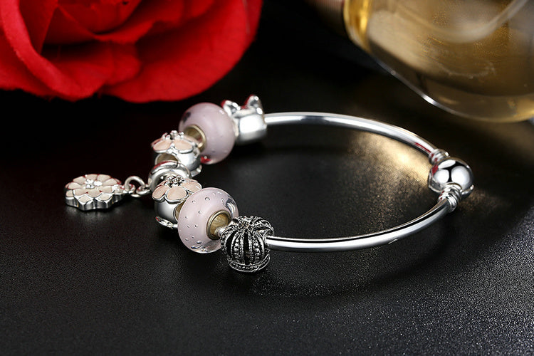 Beauty of Cherry Blossoms - Cute Pink Floral Bracelet for a Special YOU