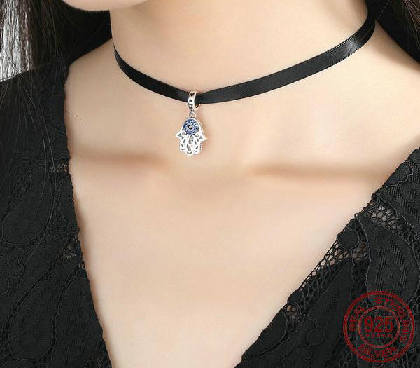 Blue Wicked Eye Pendant Choker Necklace 925 Sterling Silver