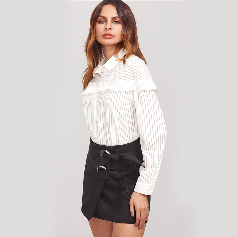 Women's Long Sleeve White Striped Lapel Ruffle Trim Button Up Blouse