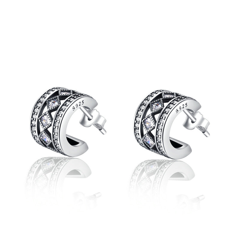 Women's Classic Vintage Style Silver Earrings with Clear Crystals