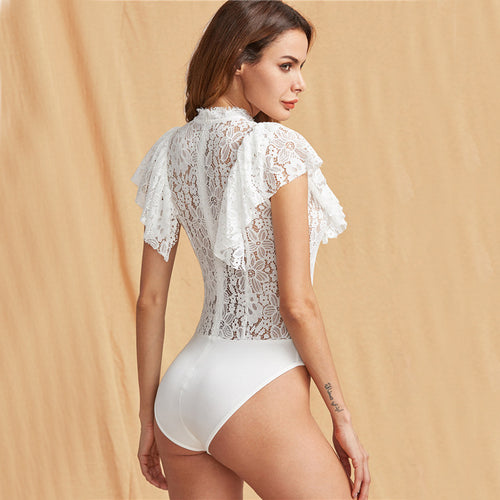 Women's Elegant White Sheer Lace Skinny Bodysuit with Ruffled Cap Sleeve