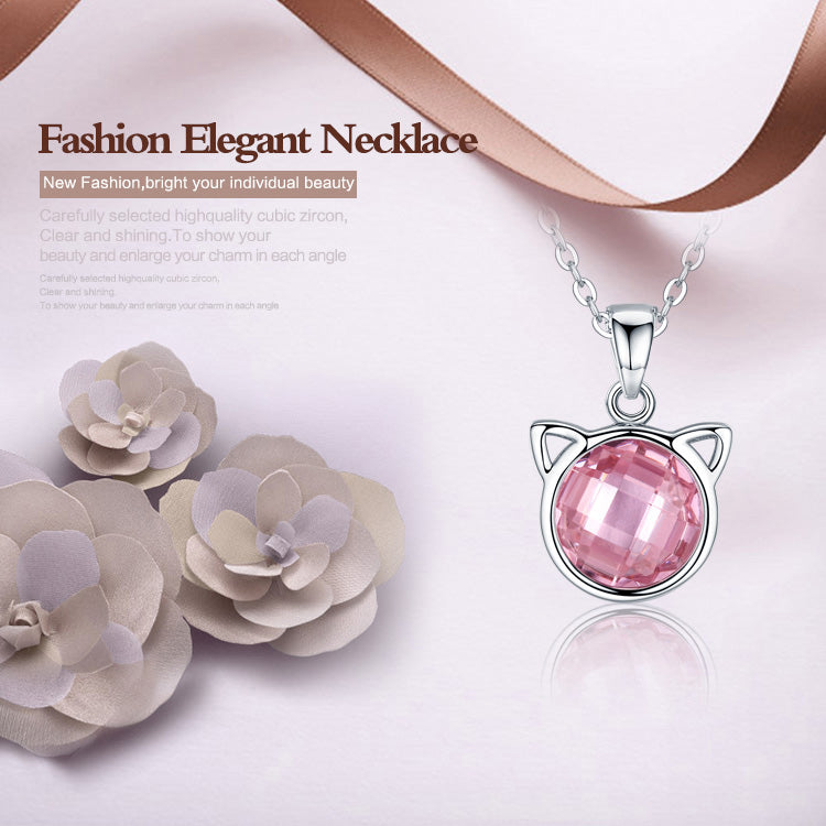 Women's Simple yet Cute Cat Pendant Necklace with an Elegant Crystal