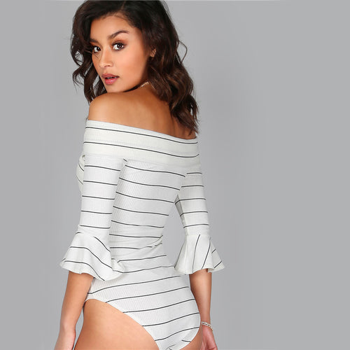 Women's Off-Shoulder Sexy yet Elegant White Pinstripe Bodysuit with 3-Quarter Sleeves
