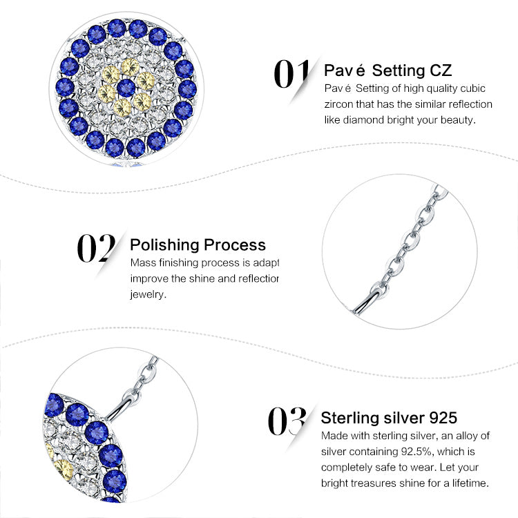 Women's Gorgeous Silver Round Pendant Necklace Earring with Eye Soothing Blue, Golden and Clear Crystals