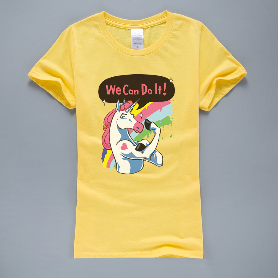 "Women's ""We Can Do It"" Cute T-Shirt in 9 Colors and 4 Sizes"