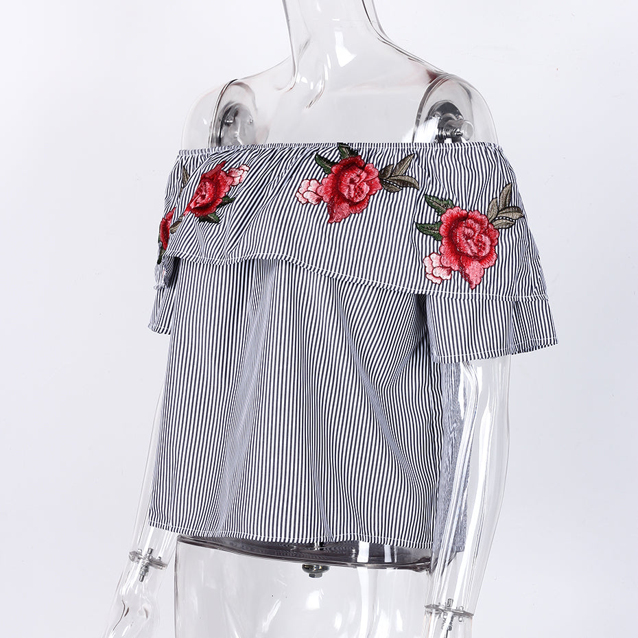 Off-Shoulder Striped Top for Women with Embroidered Roses in 2 Colors and 4 Sizes