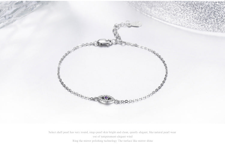 Platinum Plated 925 Sterling Silver Eyes Bracelet