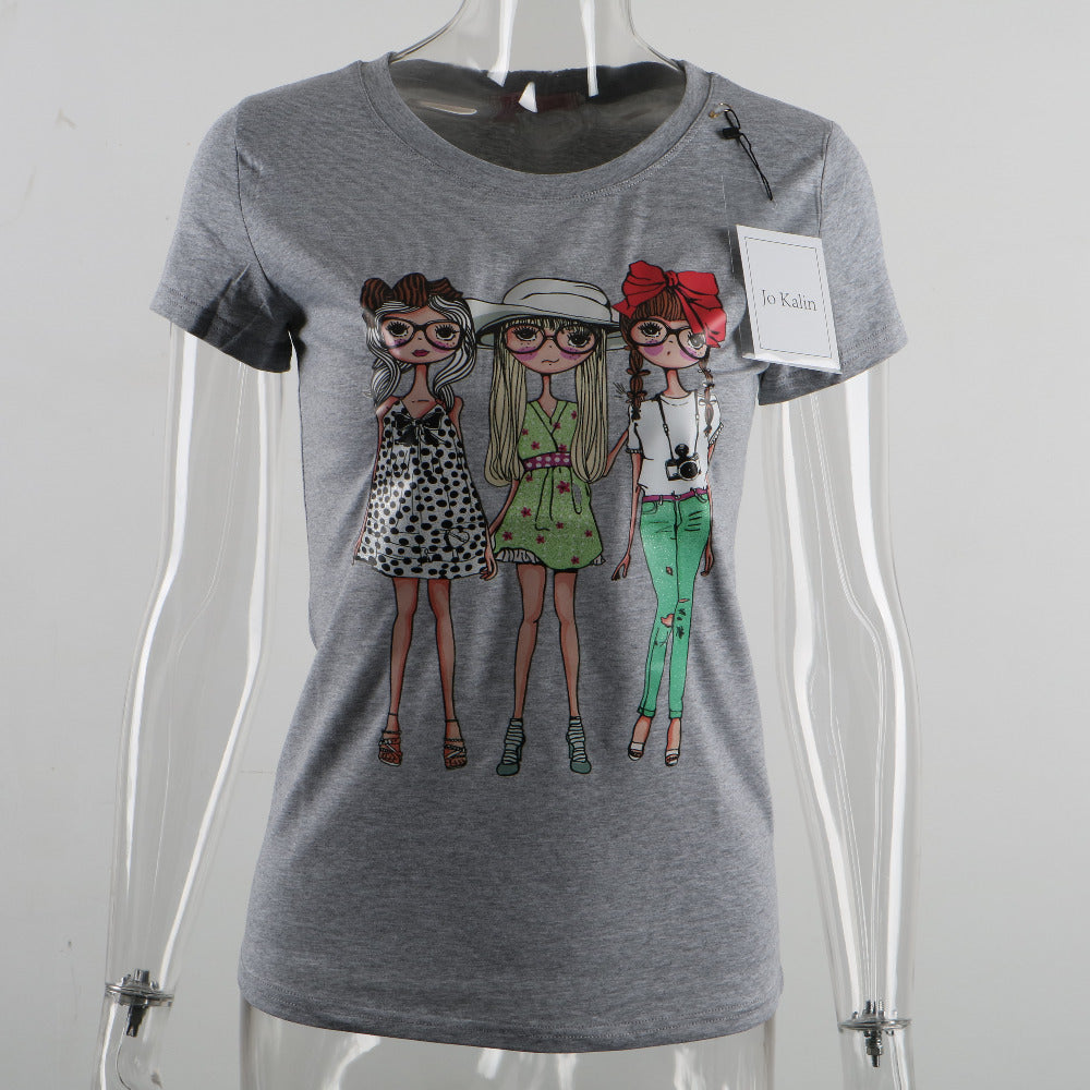 Cute Harajuku Style T-Shirt with in 3 Colors of Tees with 3 Cute Girls with Glasses - Be Kawaii