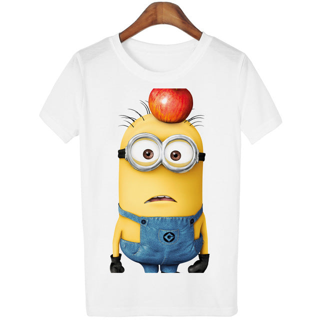 11 Designs Of Minions Print Short Sleeve T Shirt For Women