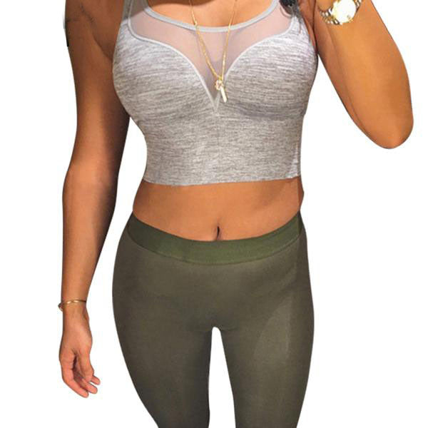Women's Sexy Tight Fit Summer Crop Top in Black and Gray Colors