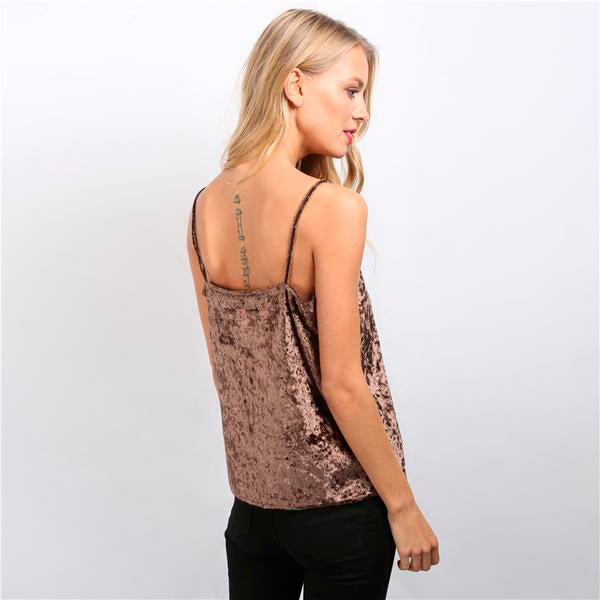 Sexy Summer Style Cami Deep V-Neck Velvet Tank Top for Women in Pink and Blue Colors