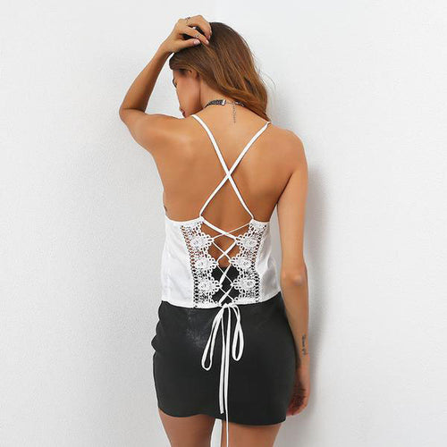 Women's Lace Up Backless and Sleeveless Tank Top in 3 Colors
