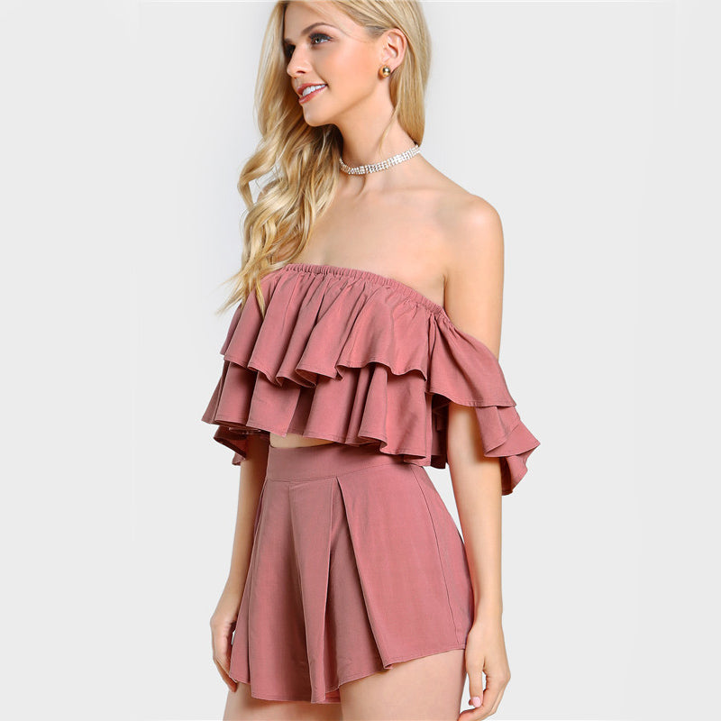 Women's Sexy 2 Piece Set with Layered Bardot Crop Top and Shorts