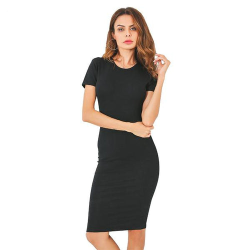 Women's Summer Dresses - 95% Cotton Knee-Length Tight Fit Office Dress with Short Sleeves