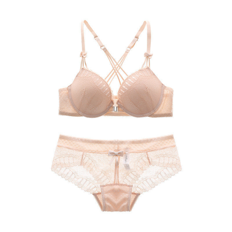 Women's Sexy Women Front Closure Push-Up Bra and Panty Set in Pink, White and Black Colors