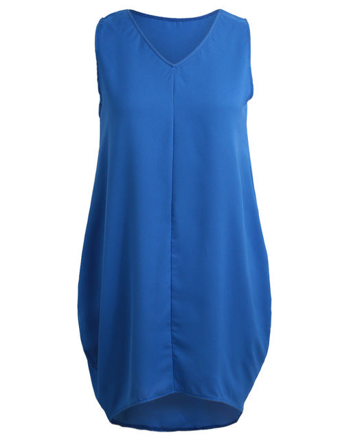 Novelty Fashion Sleeveless Tank Dress - High-Low Hem Loose Casual Summer Dress (6 Colors and 5 Sizes)