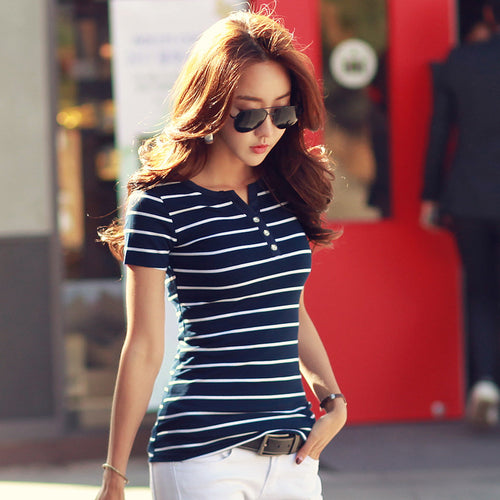 Summer Striped T-Shirts with Buttoned V-Neck and Short Sleeves