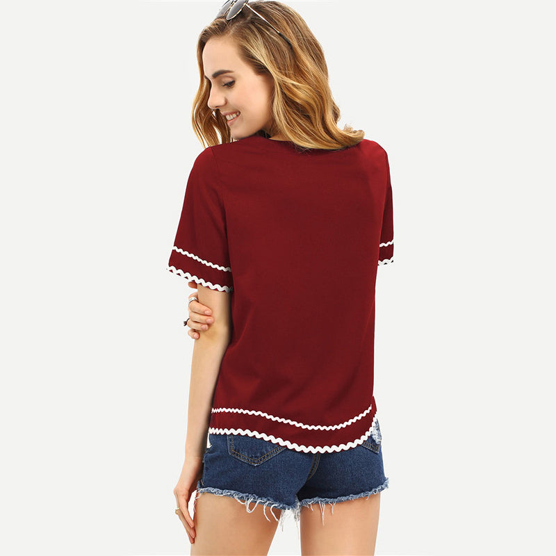 Women's Fashion Tops with Round Neck in Navy and Burgandy Colors