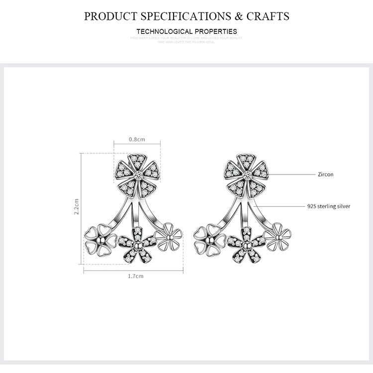 2-in-1 Design - Cuteness of Flowers and Richness of Diamonds - Lovely Earrings Crafted from Silver and Crystals