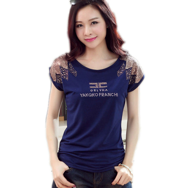 Women's Cute T-Shirt with Sequins in 4 Colors and 5 Sizes