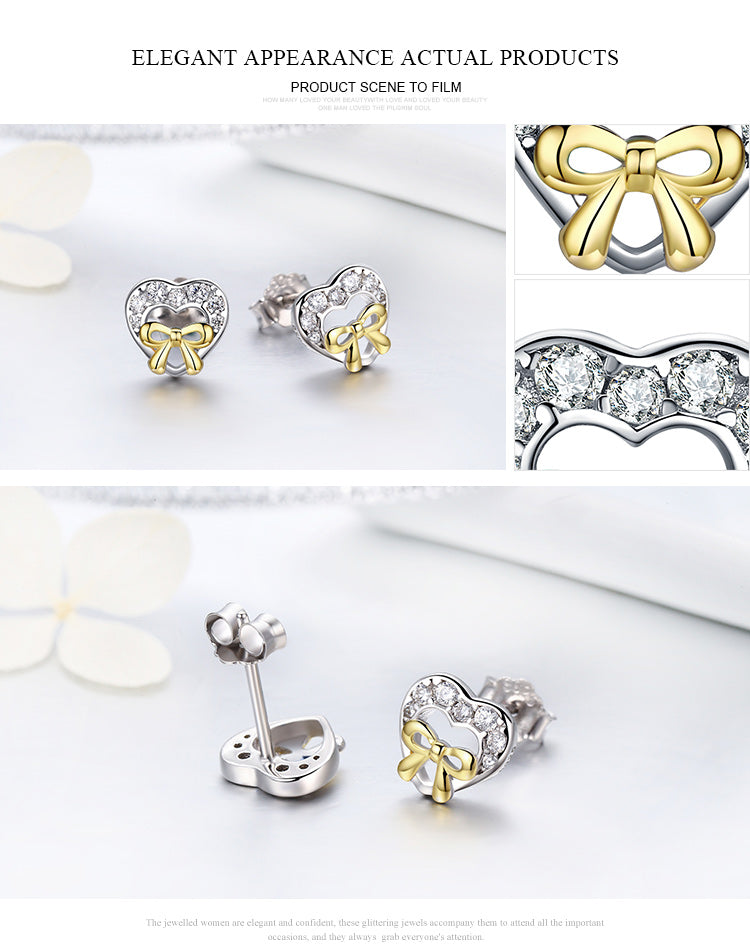 Look of Diamonds - Gorgeous Bow-knotted Heart Earrings Crafted from Silver and Crystals