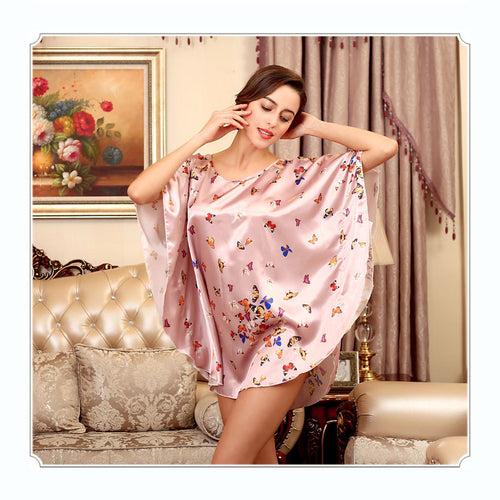 Women's Silky Nightgown - Sexy Round Neck Bat Sleeve Butterflies Above Knee Night Dress (3 Colors)