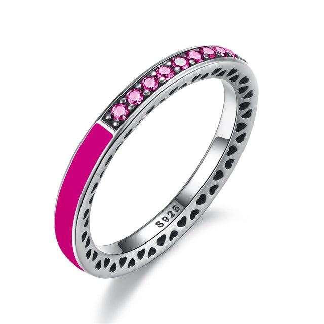 7 Bright Color Variants of Simple yet Cute Finger Rings with Hearts, Crafted from Silver and Paved with Crystals