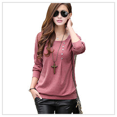 Women's Casual Loose Bat Sleeves Cotton T-shirt for Winters in 8 Sizes (S to 5XL)