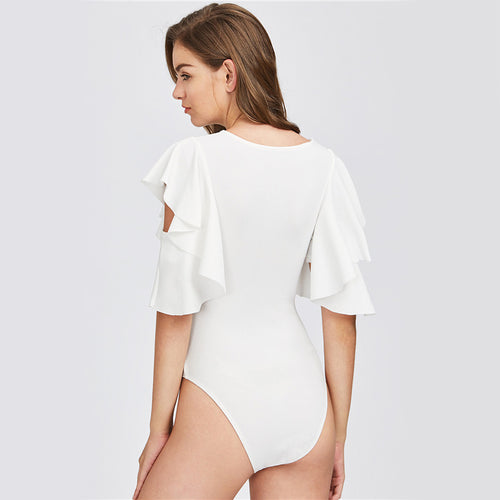 Women's Elegant White Bodysuit with Ruffled Sexy Cut Out Short Sleeves