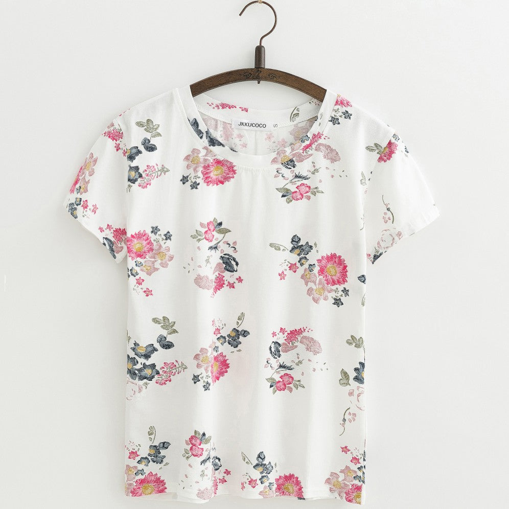 22 Designs of Cute Maple Leaves and Flowers  Cotton T-shirt for Women in 5 Sizes