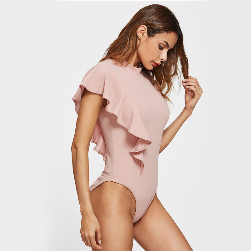 Women's One Ruffled Shoulder Cute Pink Bodysuit