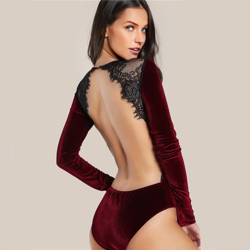 Women's Sexy Backless and Long Sleeves Velvet Bodysuit in Burgundy Color and Black Lace at the Back