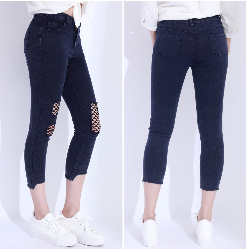 luxuriant in design hottest sale on wholesale Women's Skinny Ripped Jeans With Sexy Net Design in Black and Dark Blue  Colors