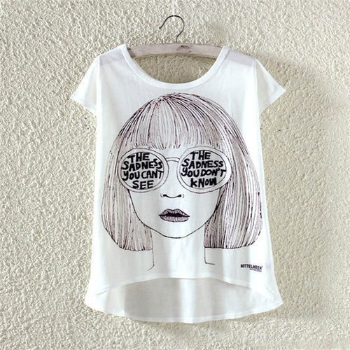 22 Designs of New Cute Harajuku Style T-Shirt for Women in 3 Sizes
