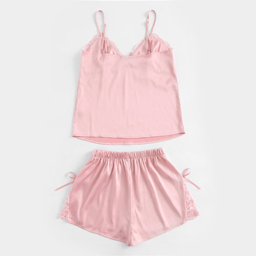 Cute & Sexy Pink Summer Pajamas for Women with Floral Lace