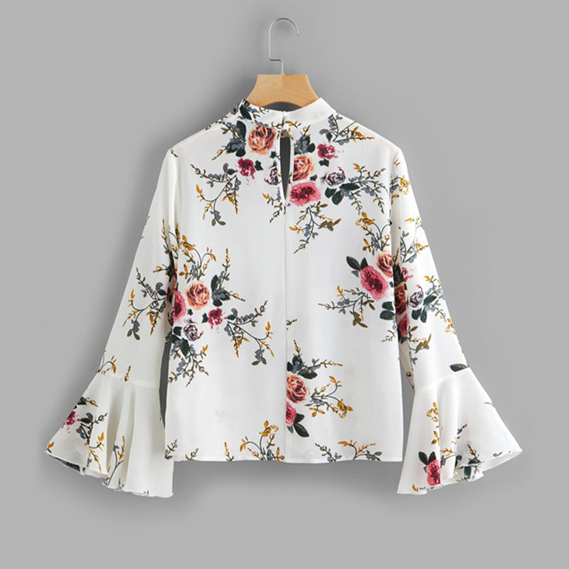 6b6156375a5259 Women's Cute V-Neck Flare Sleeve Band Collar Top with Floral Print ...
