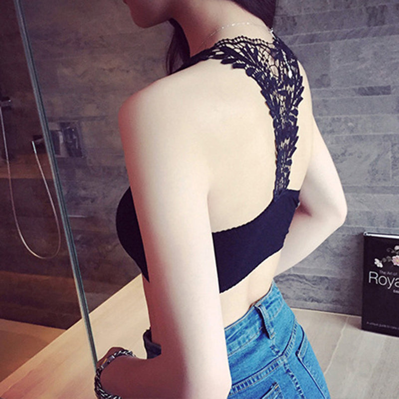 Women's Sexy Crop Top with Floral Lace Mesh Patchwork Crop Top/Bralette in Black or White Colors