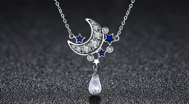 Cute & Gorgeous Starry Night Pendant Necklaces for Women with Diamonds like Crystals