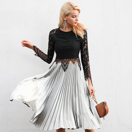 Women's Elegant Casual Satin High Waist Long Pleated Skirts in 3 Colors