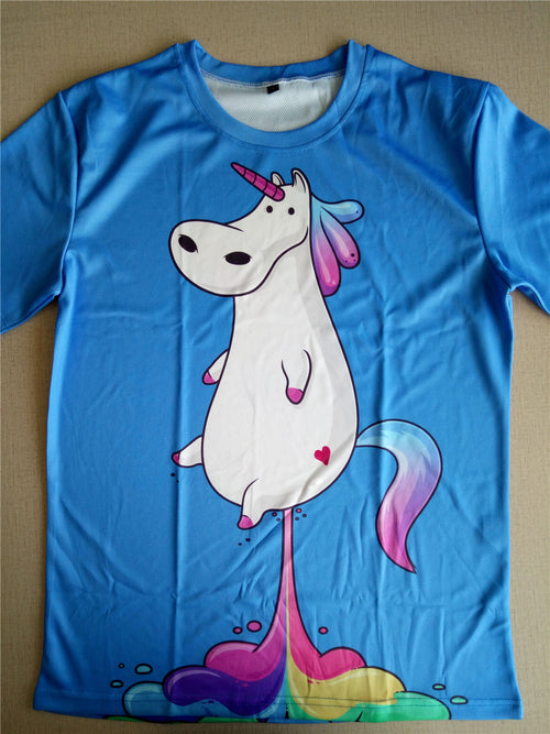 Rainbow Blue Funny Horse T-shirt for Women in 7 Sizes