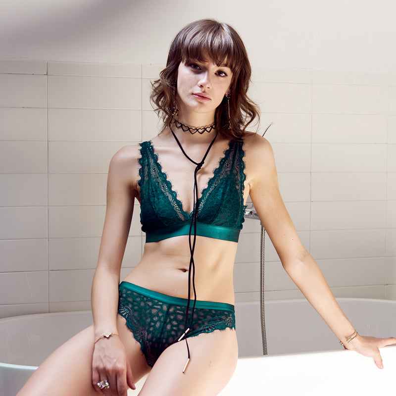 158a2e82fda7b Sexy Lace-up Transparent Bra Panties Set in Black and Green Colors ...