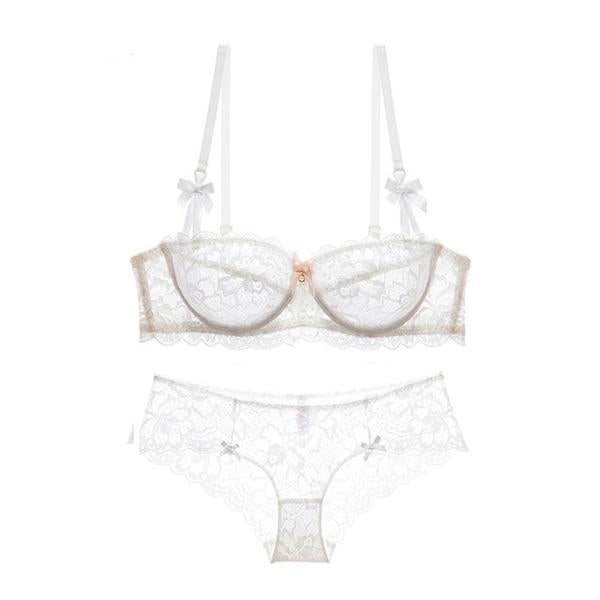 Hot Sexy Bra and Panties Set with Embroidery - Transparent Lingerie in 3 Colors and 19 Sizes