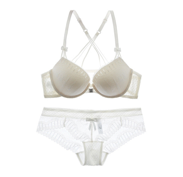 Front Closure Lace Embroidery Thick Push Bra and Panties Sets in 3 Colors and 11 Sizes.