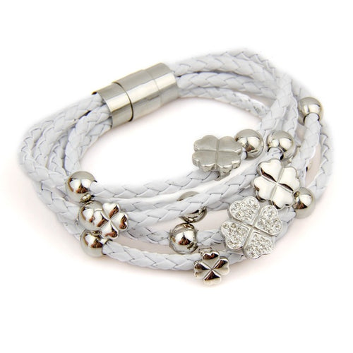 Gorgeous Leather Wrap Bracelet with Flower with Heart Shaped Petals in White Color